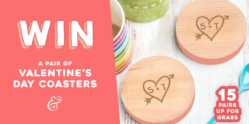 Win a pair of Valentine's Day personalised coasters