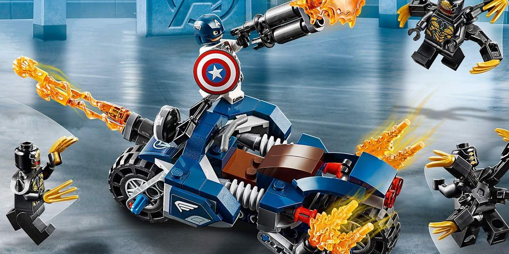 Win Marvel Avengers Endgame Outriders Attack Captain America's Motorcycle Toy LEGO